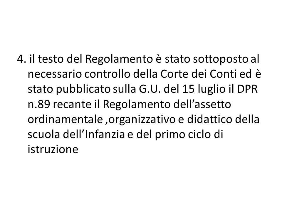 4. il testo del Regolamento è stato sottoposto al necessario controllo della Corte dei Conti ed è stato pubblicato sulla G.U. del 15 luglio il DPR n.8
