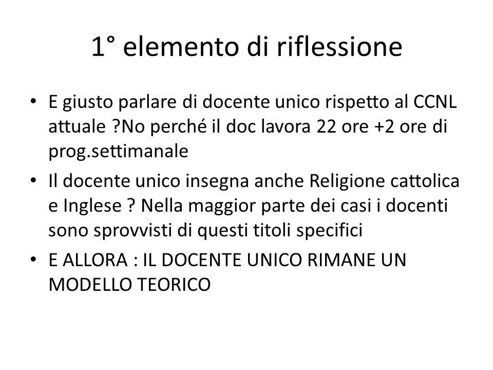 1° elemento di riflessione E giusto parlare di docente unico rispetto al CCNL attuale No perché il doc lavora 22 ore +2 ore di prog.settimanale Il docente unico insegna anche Religione cattolica e Inglese .