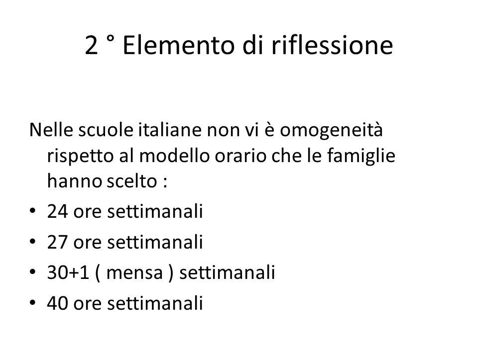 2 ° Elemento di riflessione Nelle scuole italiane non vi è omogeneità rispetto al modello orario che le famiglie hanno scelto : 24 ore settimanali 27 ore settimanali 30+1 ( mensa ) settimanali 40 ore settimanali