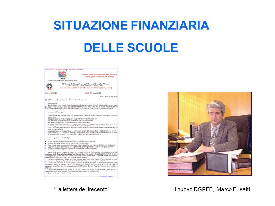 SITUAZIONE FINANZIARIA DELLE SCUOLE La lettera dei trecentoIl nuovo DGPFB, Marco Filisetti