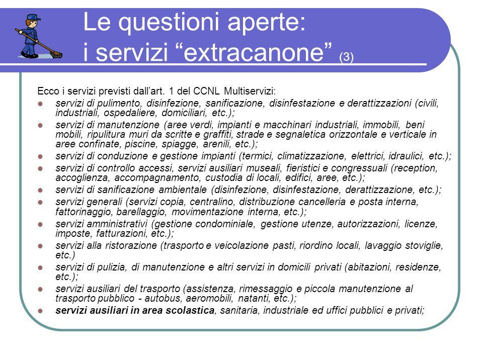 Le questioni aperte: i servizi extracanone (3) Ecco i servizi previsti dallart.