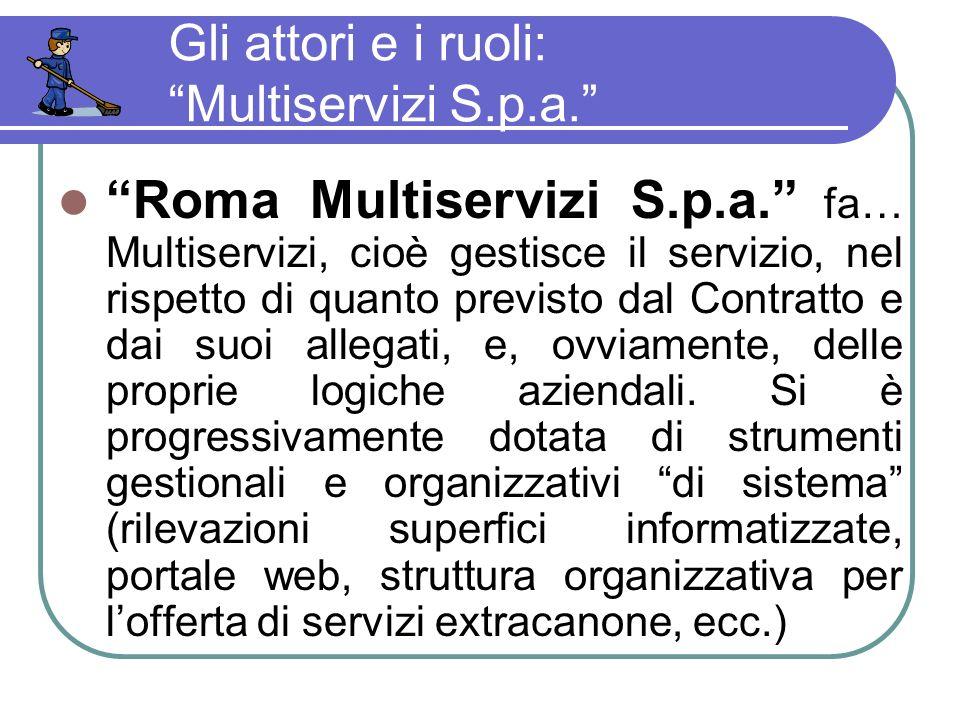 Gli attori e i ruoli: Multiservizi S.p.a. Roma Multiservizi S.p.a.