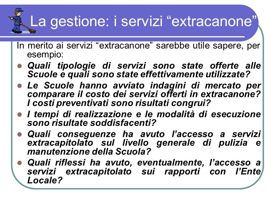 La gestione: i servizi extracanone In merito ai servizi extracanone sarebbe utile sapere, per esempio: Quali tipologie di servizi sono state offerte alle Scuole e quali sono state effettivamente utilizzate.