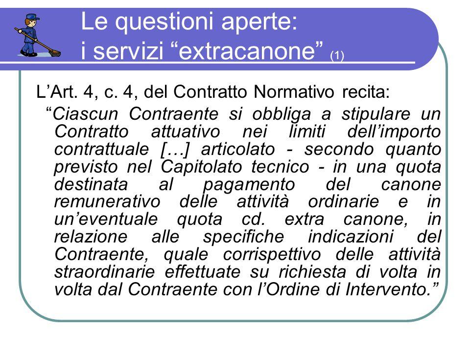 Le questioni aperte: i servizi extracanone (1) LArt.