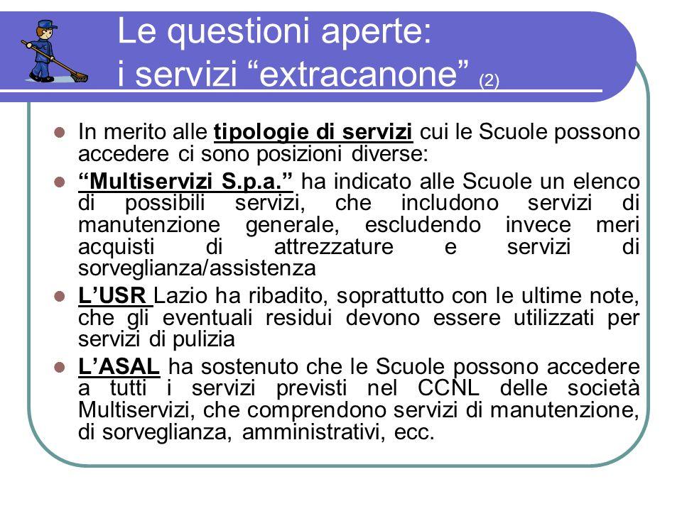 Le questioni aperte: i servizi extracanone (2) In merito alle tipologie di servizi cui le Scuole possono accedere ci sono posizioni diverse: Multiservizi S.p.a.