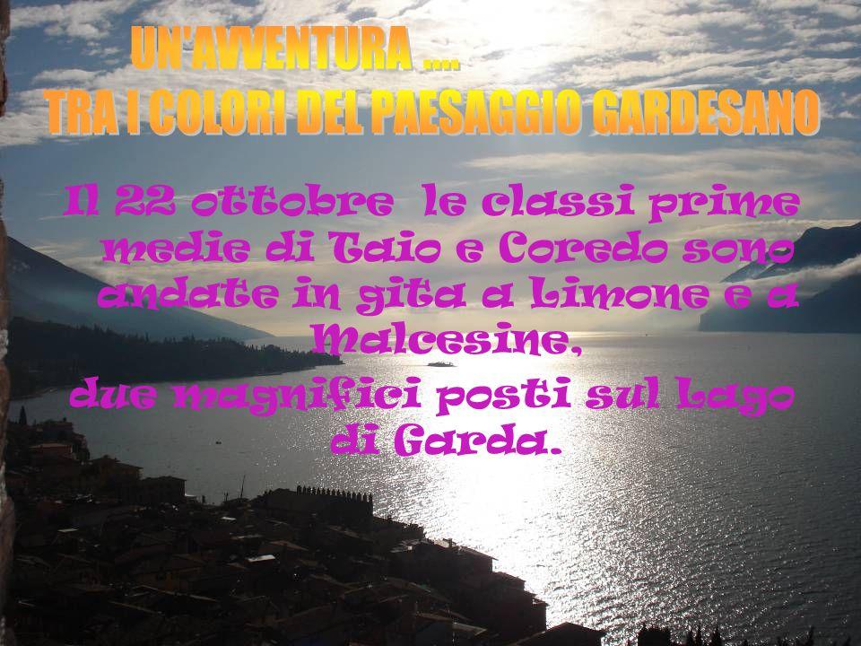 Il 22 ottobre le classi prime medie di Taio e Coredo sono andate in gita a Limone e a Malcesine, due magnifici posti sul Lago di Garda.
