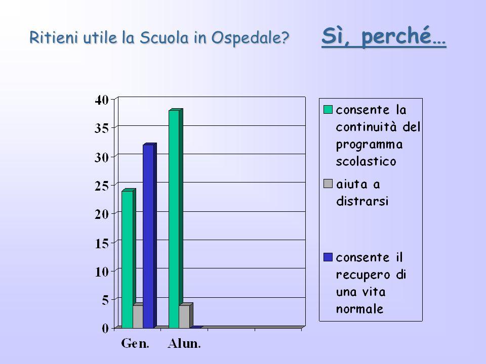 INDAGINE SUL GRADO DI SODDISFAZIONE DEI GENITORI E DEGLI ALUNNI PER IL SERVIZIO EROGATO DALLA SCUOLA IN OSPEDALE a. s. 2001/2002 Ritieni utile la scuo