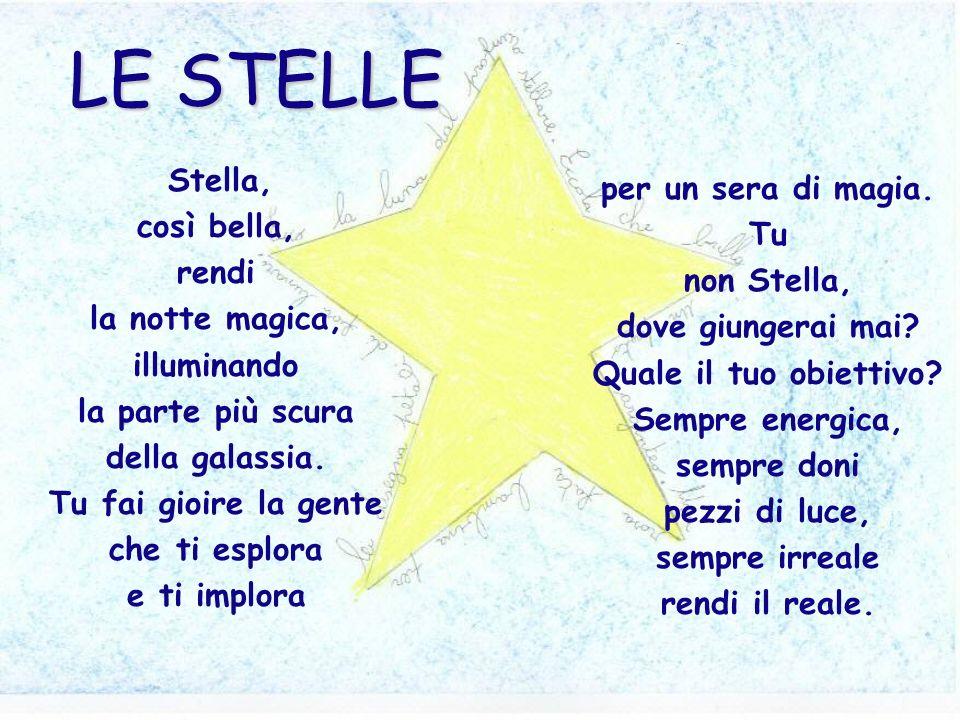 Stella, così bella, rendi la notte magica, illuminando la parte più scura della galassia. Tu fai gioire la gente che ti esplora e ti implora per un se