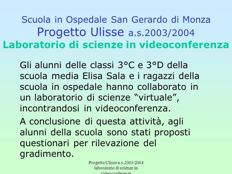 Progetto Ulisse a.s.2003/2004 laboratorio di scienze in videoconferenza Gli alunni delle classi 3°C e 3°D della scuola media Elisa Sala e i ragazzi de