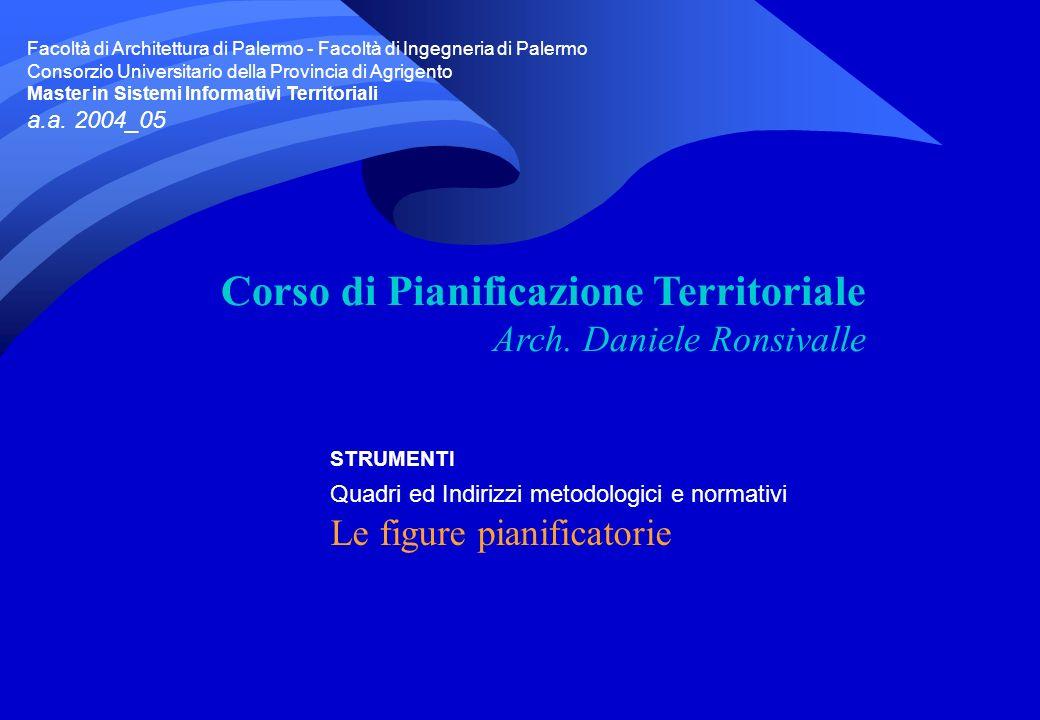 STRUMENTI Quadri ed Indirizzi metodologici e normativi Le figure pianificatorie Corso di Pianificazione Territoriale Arch.