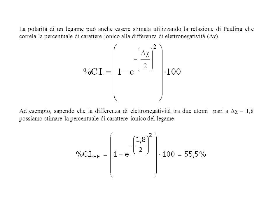 La polarità di un legame può anche essere stimata utilizzando la relazione di Pauling che correla la percentuale di carattere ionico alla differenza d
