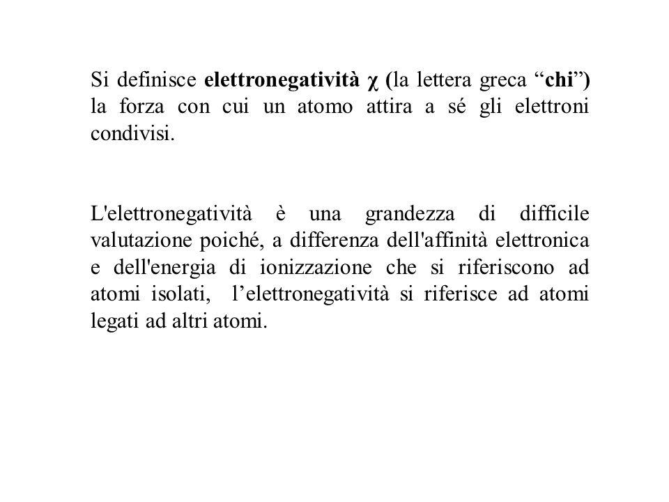 Si definisce elettronegatività χ (la lettera greca chi) la forza con cui un atomo attira a sé gli elettroni condivisi. L'elettronegatività è una grand