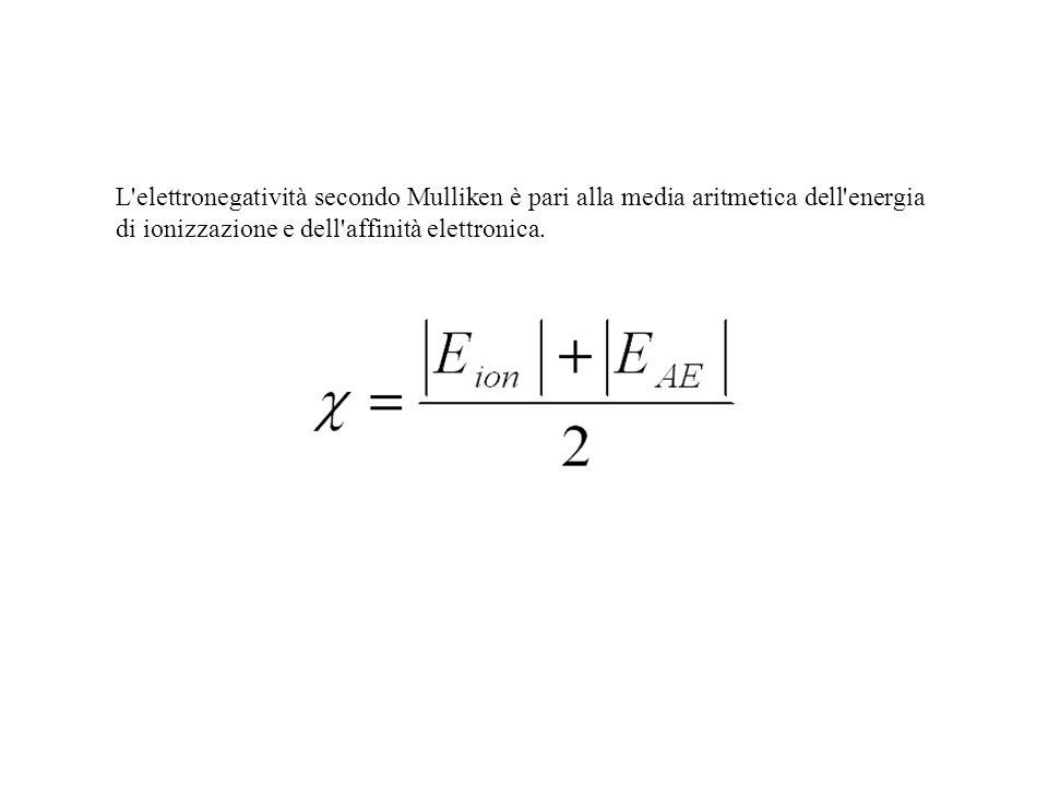 L'elettronegatività secondo Mulliken è pari alla media aritmetica dell'energia di ionizzazione e dell'affinità elettronica.