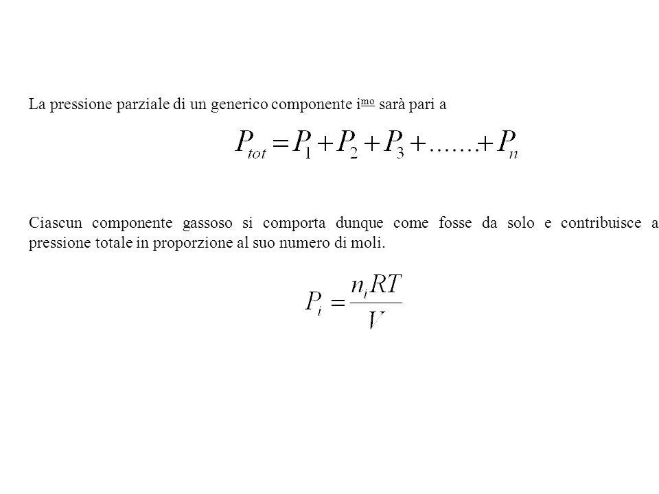 La pressione parziale di un generico componente i mo sarà pari a Ciascun componente gassoso si comporta dunque come fosse da solo e contribuisce alla