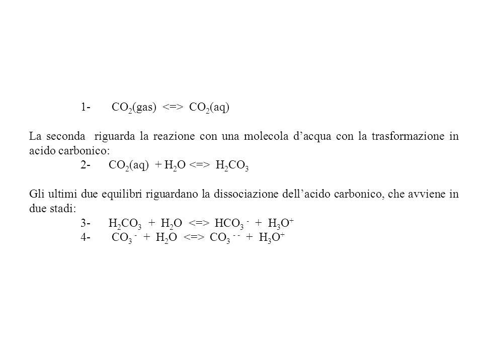 1- CO 2 (gas) CO 2 (aq) La seconda riguarda la reazione con una molecola dacqua con la trasformazione in acido carbonico: 2- CO 2 (aq) + H 2 O H 2 CO