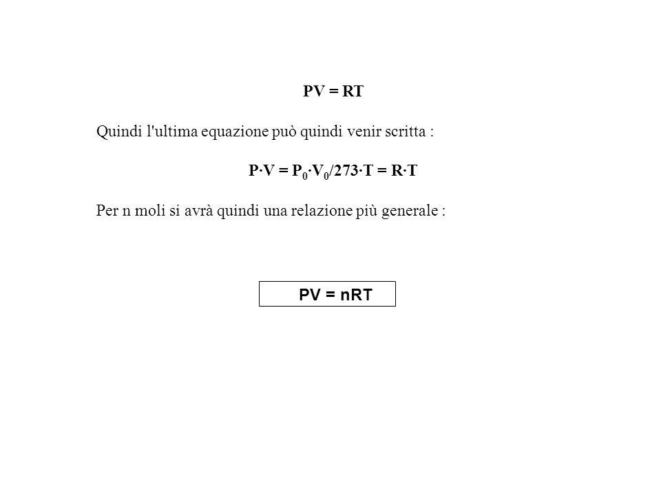 PV = RT Quindi l'ultima equazione può quindi venir scritta : P·V = P 0 ·V 0 /273·T = R·T Per n moli si avrà quindi una relazione più generale : PV = n