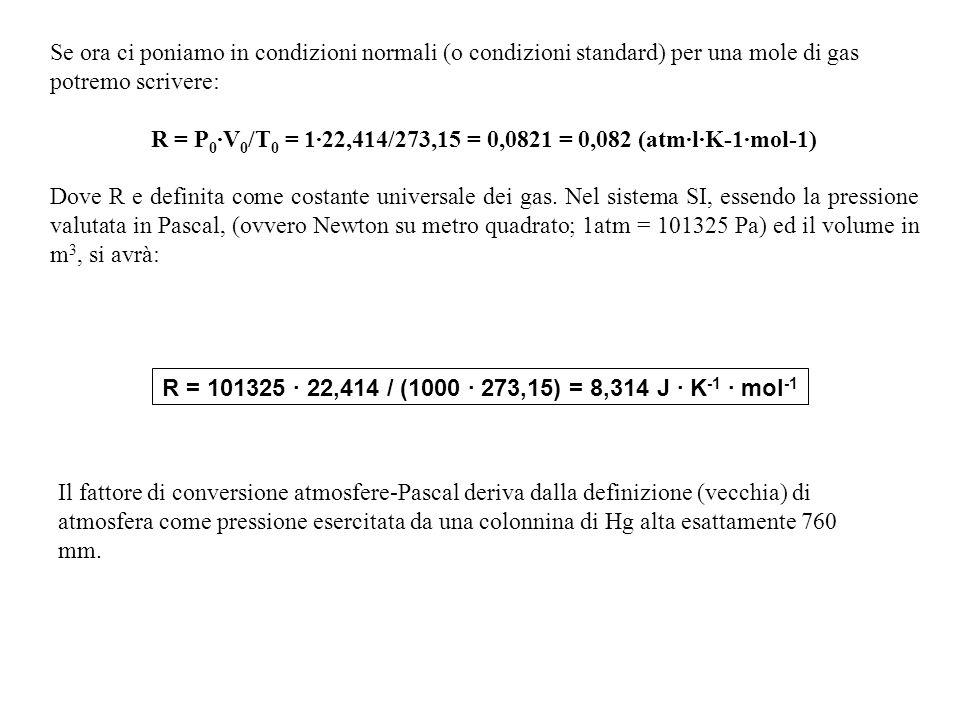 Se ora ci poniamo in condizioni normali (o condizioni standard) per una mole di gas potremo scrivere: R = P 0 ·V 0 /T 0 = 1·22,414/273,15 = 0,0821 = 0