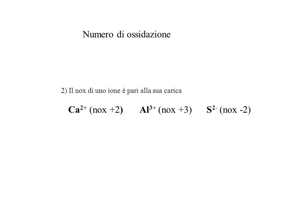 Numero di ossidazione 2) Il nox di uno ione è pari alla sua carica Ca 2+ (nox +2) Al 3+ (nox +3) S 2- (nox -2)
