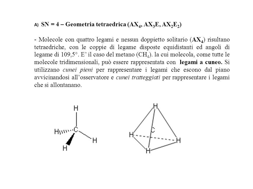 A) SN = 4 – Geometria tetraedrica (AX 4, AX 3 E, AX 2 E 2 ) - Molecole con quattro legami e nessun doppietto solitario (AX 4 ) risultano tetraedriche, con le coppie di legame disposte equidistanti ed angoli di legame di 109,5°.