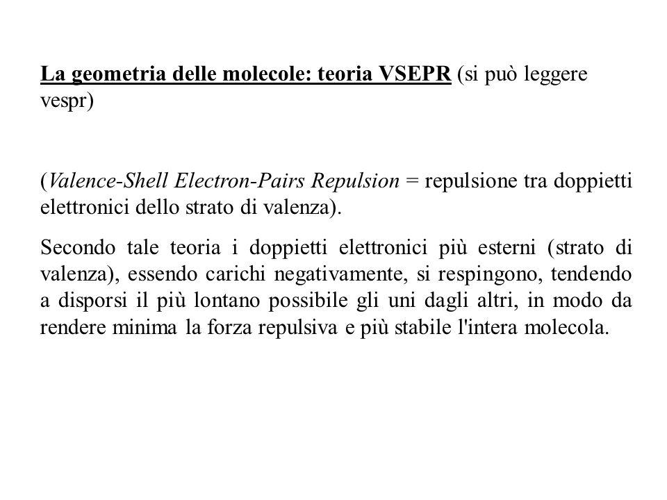 La geometria delle molecole: teoria VSEPR (si può leggere vespr) (Valence-Shell Electron-Pairs Repulsion = repulsione tra doppietti elettronici dello strato di valenza).