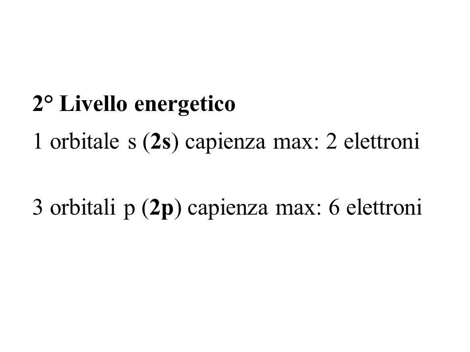 2° Livello energetico 1 orbitale s (2s) capienza max: 2 elettroni 3 orbitali p (2p) capienza max: 6 elettroni