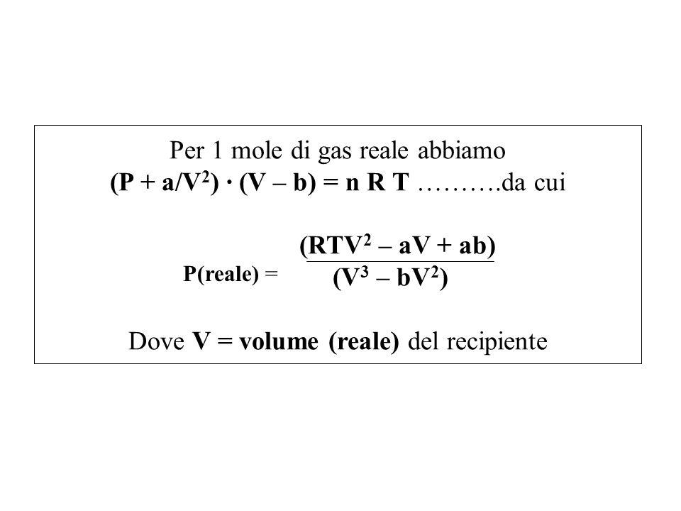 Per 1 mole di gas reale abbiamo (P + a/V 2 ) · (V – b) = n R T ……….da cui (RTV 2 – aV + ab) (V 3 – bV 2 ) Dove V = volume (reale) del recipiente P(rea
