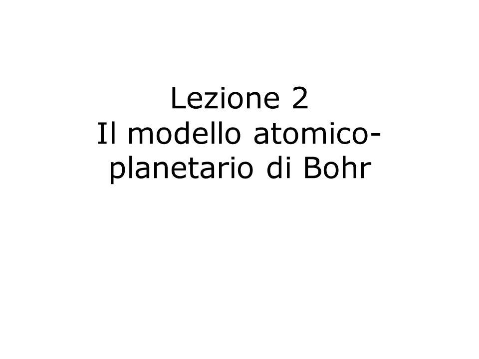 Lezione 2 Il modello atomico- planetario di Bohr