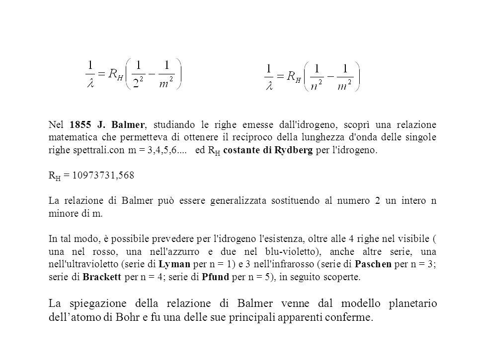 Nel 1855 J. Balmer, studiando le righe emesse dall'idrogeno, scoprì una relazione matematica che permetteva di ottenere il reciproco della lunghezza d