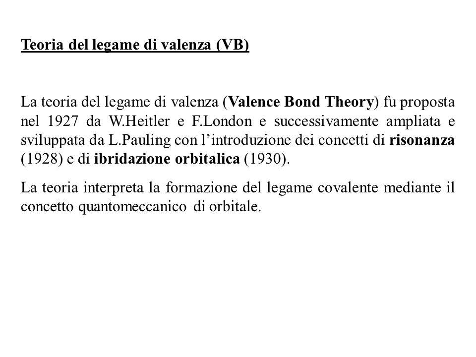 Teoria del legame di valenza (VB) La teoria del legame di valenza (Valence Bond Theory) fu proposta nel 1927 da W.Heitler e F.London e successivamente ampliata e sviluppata da L.Pauling con lintroduzione dei concetti di risonanza (1928) e di ibridazione orbitalica (1930).
