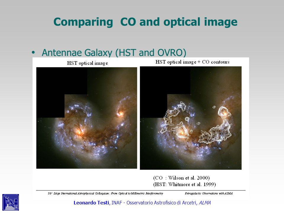 Comparing CO and optical image Antennae Galaxy (HST and OVRO) Antennae Galaxy (HST and OVRO)