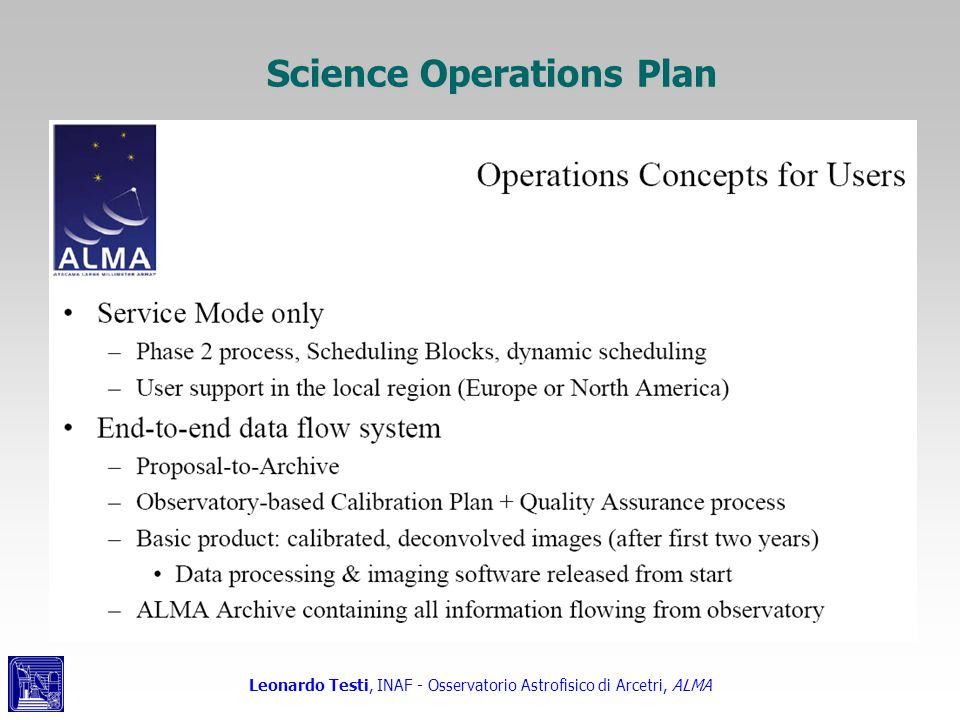 Leonardo Testi, INAF - Osservatorio Astrofisico di Arcetri, ALMA Science Operations Plan