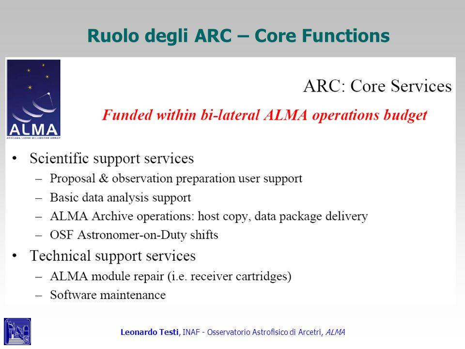 Leonardo Testi, INAF - Osservatorio Astrofisico di Arcetri, ALMA Ruolo degli ARC – Core Functions