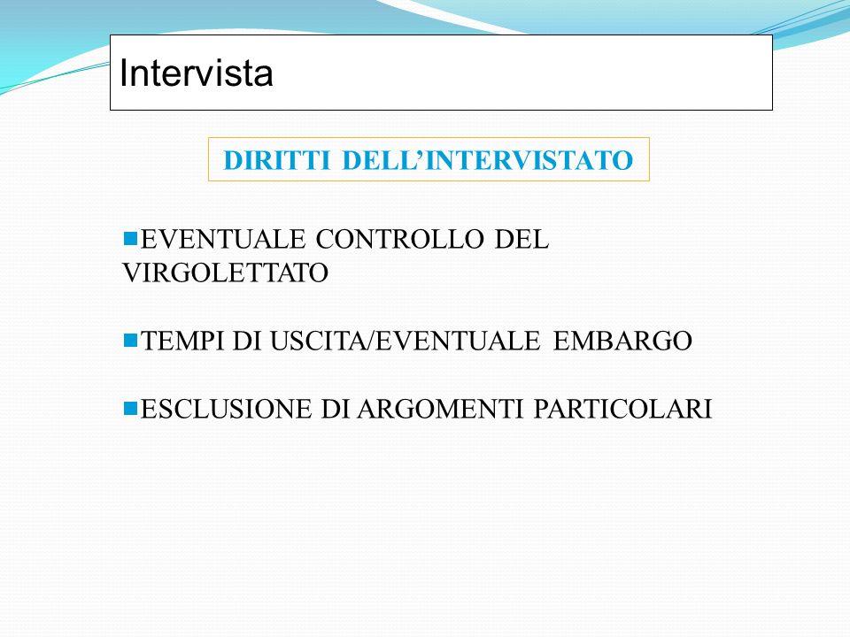 Intervista EVENTUALE CONTROLLO DEL VIRGOLETTATO TEMPI DI USCITA/EVENTUALE EMBARGO ESCLUSIONE DI ARGOMENTI PARTICOLARI DIRITTI DELLINTERVISTATO