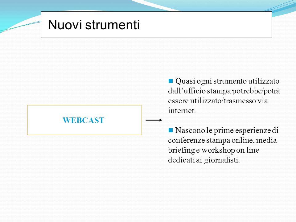 Nuovi strumenti WEBCAST Quasi ogni strumento utilizzato dallufficio stampa potrebbe/potrà essere utilizzato/trasmesso via internet. Nascono le prime e