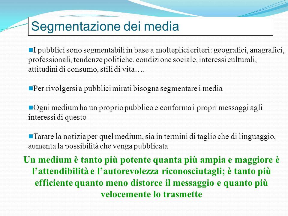 Segmentazione dei media I pubblici sono segmentabili in base a molteplici criteri: geografici, anagrafici, professionali, tendenze politiche, condizione sociale, interessi culturali, attitudini di consumo, stili di vita….