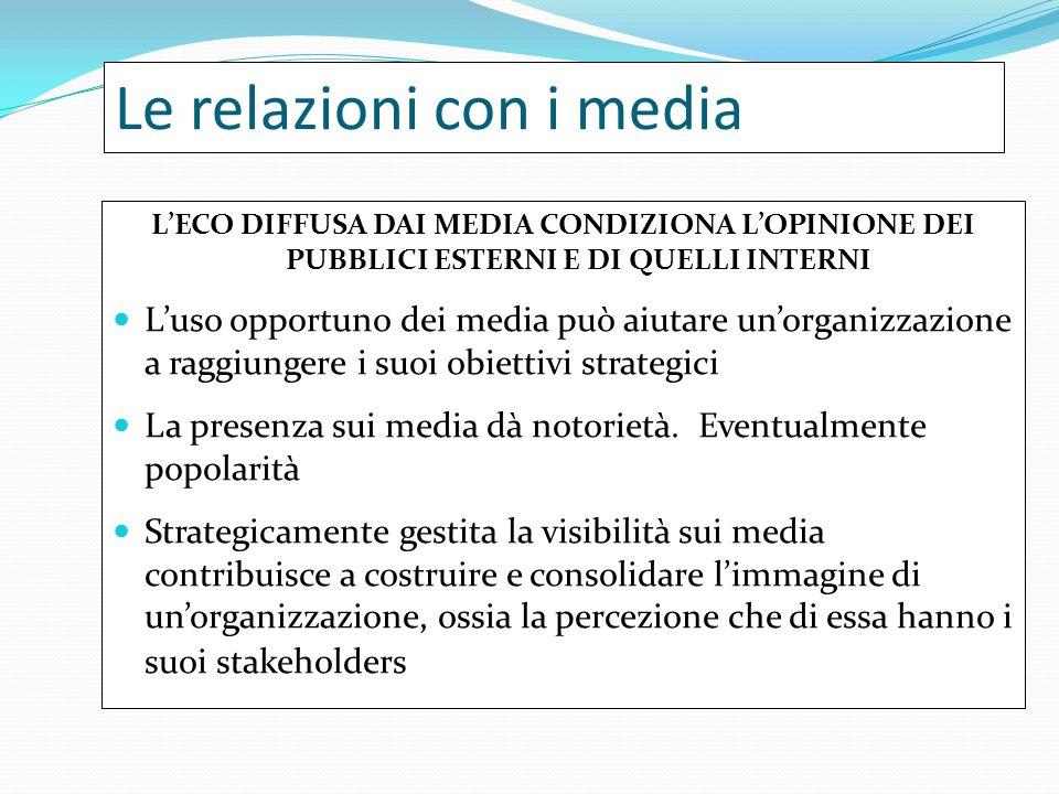 Le relazioni con i media LECO DIFFUSA DAI MEDIA CONDIZIONA LOPINIONE DEI PUBBLICI ESTERNI E DI QUELLI INTERNI Luso opportuno dei media può aiutare unorganizzazione a raggiungere i suoi obiettivi strategici La presenza sui media dà notorietà.