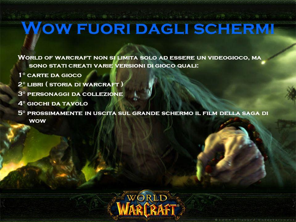 Wow fuori dagli schermi World of warcraft non si limita solo ad essere un videogioco, ma sono stati creati varie versioni di gioco quali: 1° carte da