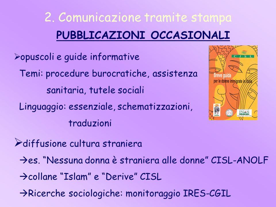 2. Comunicazione tramite stampa PUBBLICAZIONI OCCASIONALI opuscoli e guide informative Temi: procedure burocratiche, assistenza sanitaria, tutele soci
