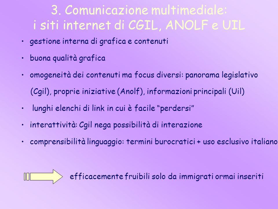 3. Comunicazione multimediale: i siti internet di CGIL, ANOLF e UIL gestione interna di grafica e contenuti buona qualità grafica omogeneità dei conte