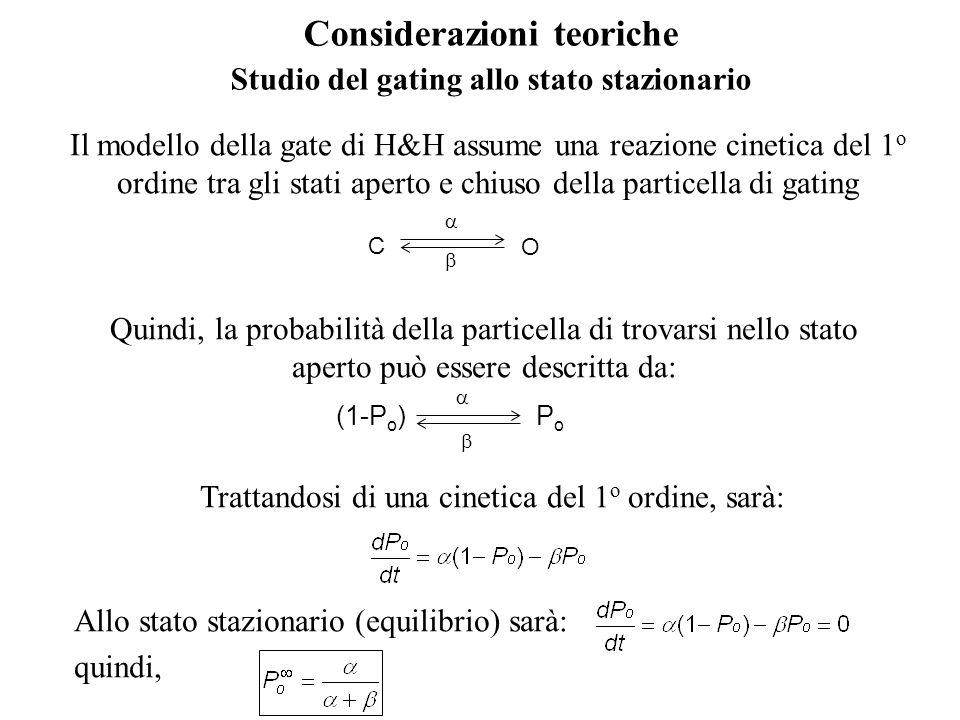 Il modello della gate di H&H assume una reazione cinetica del 1 o ordine tra gli stati aperto e chiuso della particella di gating C O Quindi, la probabilità della particella di trovarsi nello stato aperto può essere descritta da: (1-P o ) PoPo Trattandosi di una cinetica del 1 o ordine, sarà: Allo stato stazionario (equilibrio) sarà: quindi, Considerazioni teoriche Studio del gating allo stato stazionario