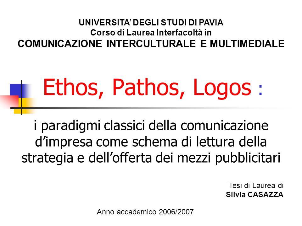 Ethos, Pathos, Logos : i paradigmi classici della comunicazione dimpresa come schema di lettura della strategia e dellofferta dei mezzi pubblicitari U