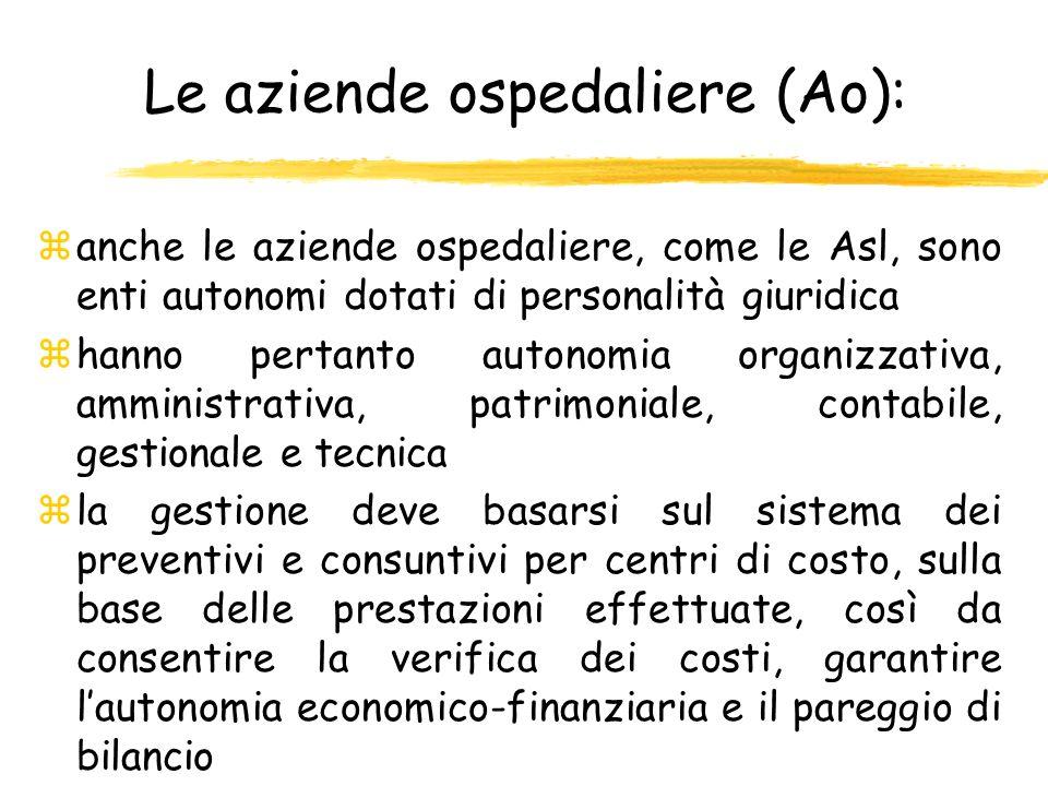 Le aziende ospedaliere (Ao): zanche le aziende ospedaliere, come le Asl, sono enti autonomi dotati di personalità giuridica zhanno pertanto autonomia