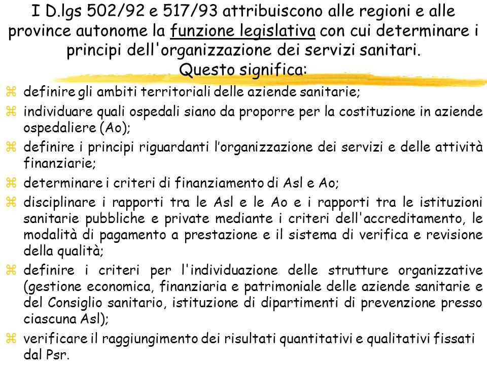 I D.lgs 502/92 e 517/93 attribuiscono alle regioni e alle province autonome la funzione legislativa con cui determinare i principi dell'organizzazione