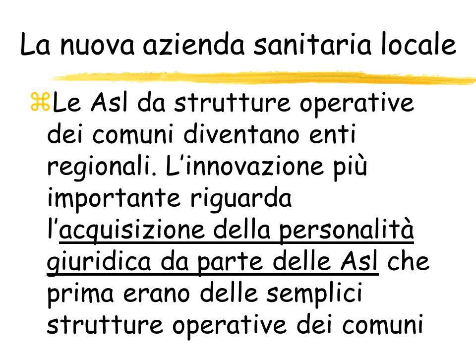 La nuova azienda sanitaria locale zLe Asl da strutture operative dei comuni diventano enti regionali. Linnovazione più importante riguarda lacquisizio