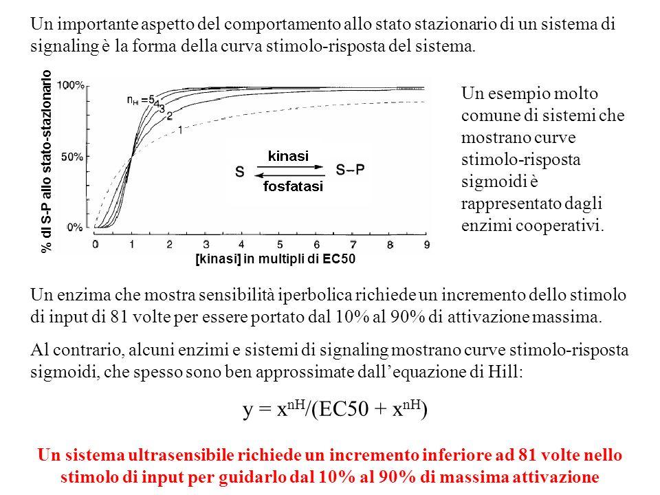 Un importante aspetto del comportamento allo stato stazionario di un sistema di signaling è la forma della curva stimolo-risposta del sistema. Un enzi
