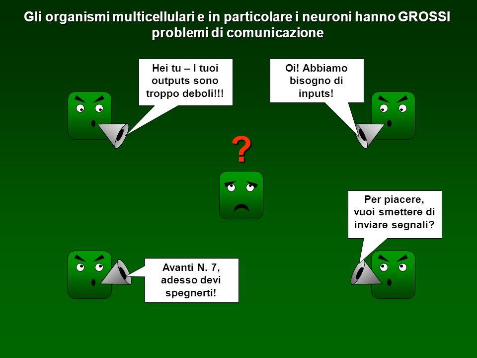 Gli organismi multicellulari e in particolare i neuroni hanno GROSSI problemi di comunicazione ? Hei tu – I tuoi outputs sono troppo deboli!!! Oi! Abb