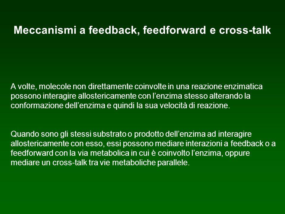 Meccanismi a feedback, feedforward e cross-talk A volte, molecole non direttamente coinvolte in una reazione enzimatica possono interagire allosterica
