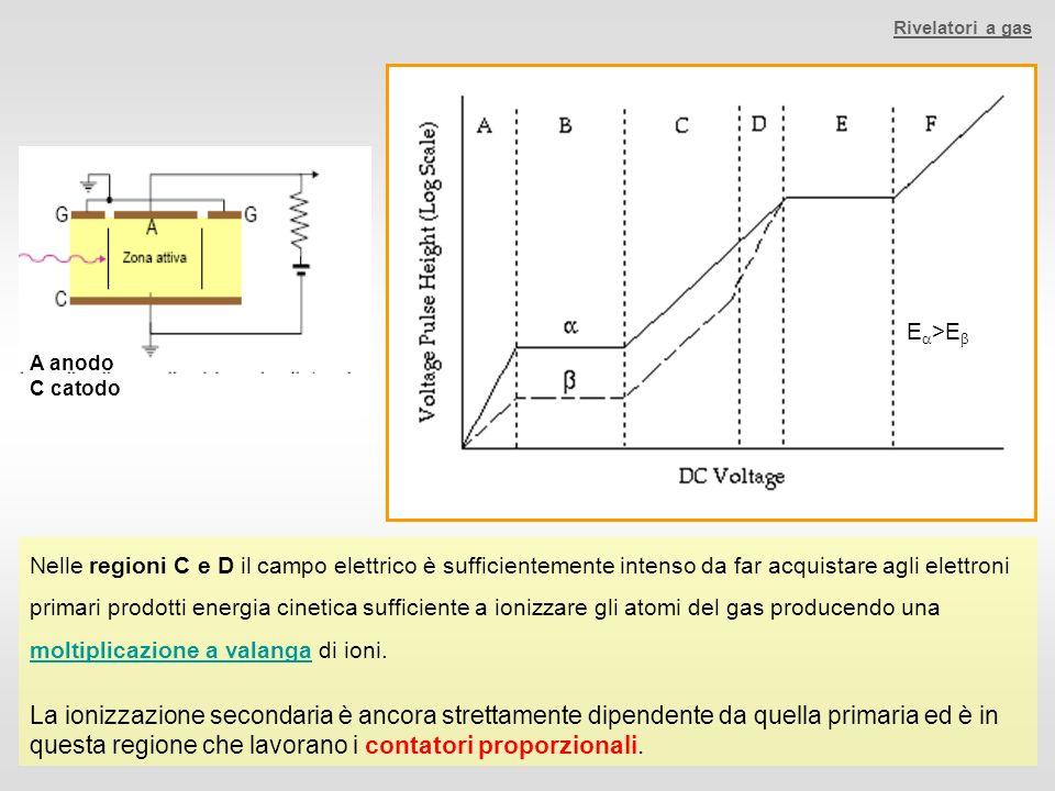 Nelle regioni C e D il campo elettrico è sufficientemente intenso da far acquistare agli elettroni primari prodotti energia cinetica sufficiente a ion