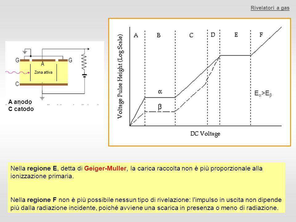 Nella regione E, detta di Geiger-Muller, la carica raccolta non è più proporzionale alla ionizzazione primaria. Nella regione F non è più possibile ne