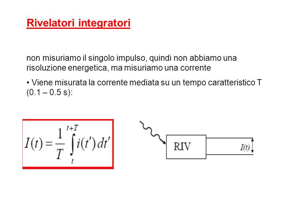 Rivelatori integratori (non misuriamo il singolo impulso, quindi non abbiamo una risoluzione energetica, ma misuriamo una corrente) Viene misurata la corrente mediata su un tempo caratteristico T (0.1 – 0.5 s): Per un flusso costante di N fotoni al secondo, di energia E, assorbiti dal rivelatore la corrente sarà: e carica dellelettrone w energia media richiesta per produrre una coppia elettrone – ione (o elettrone – lacuna) quindi, E/w è il numero di coppie che si riesce a produrre per ognuno degli N fotoni